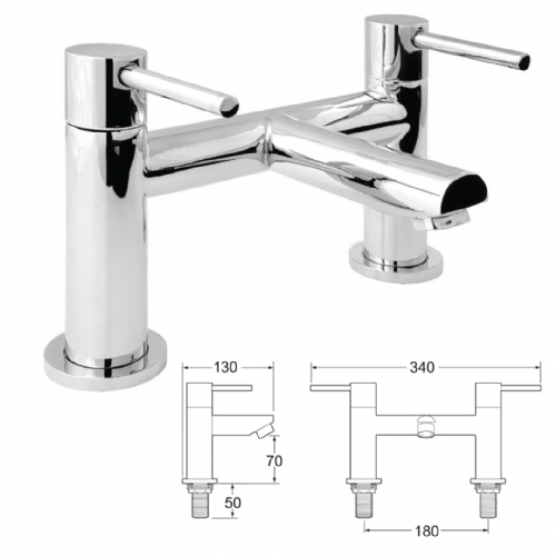 Deca Insignia Deck Mounted Bath Filler In Chrome - Model Number INS108